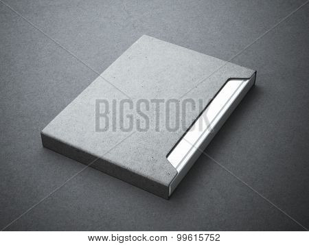 Silver book with gray paper cover box