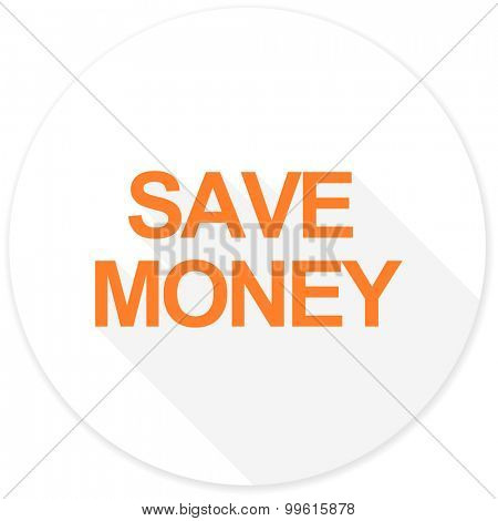 save money flat design modern icon with long shadow for web and mobile app