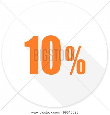 10 percent flat design modern icon with long shadow for web and mobile app