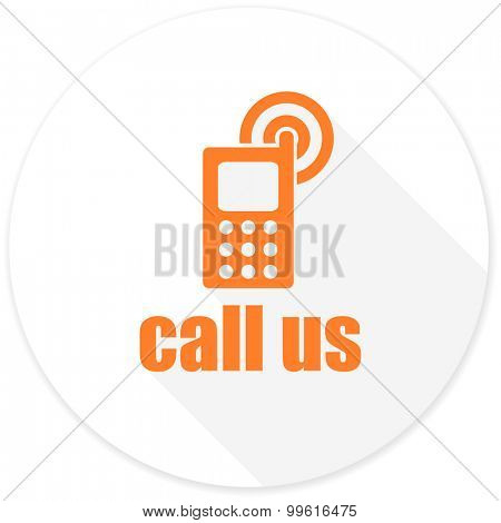call us flat design modern icon with long shadow for web and mobile app