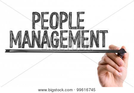 Hand with marker writing the word People Management