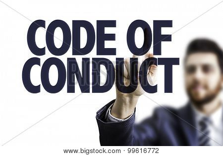 Business man pointing the text: Code of Conduct
