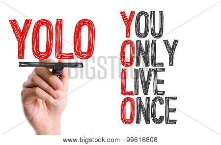 Hand with marker writing the word You Only Live Once