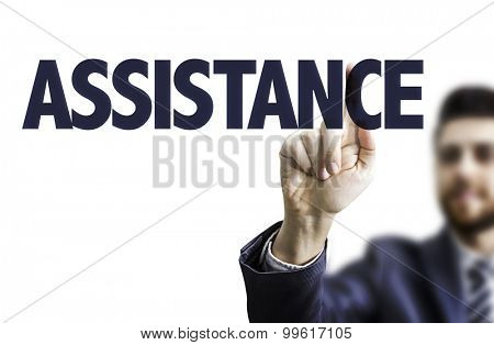 Business man pointing the text: Assistance