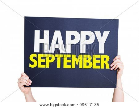 Happy September card isolated on white