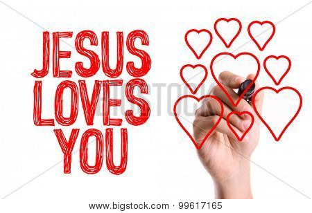 Hand with marker writing the word Jesus Loves You