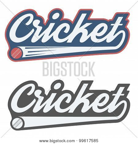 Vintage cricket label and badge