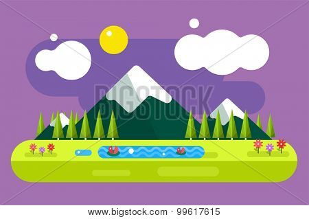 Abstract outdoor summer landscape. Trees and nature signs or outdoor, mountains, river or lake, sun, clouds, flowers, cave. Nature outdoor design elements. Tree silhouette. Green summer colors.