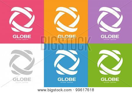 Technology orbit web rings logo. Vector circle ring logo design. Abstract flow logo template. Round ring shape and infinity loop symbol, technology icon, thin line logo. Company logo. Logo design