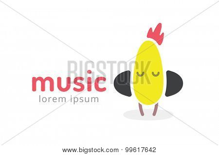 Cute chick silhouette logo icon. Chicken music studio logotype. Music icon vector silhouette. Headphones, radio, dj, party, listening. Animal character mascot. Music logo.