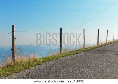 Swiss mountain landscape, road, view of the valley