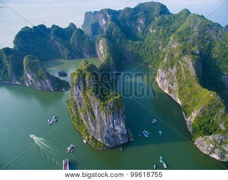 Beautiful landscape with islands in Halong bay from high view