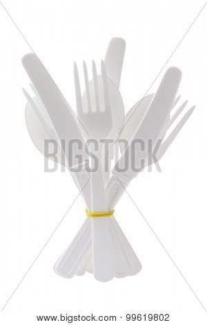 Bundle of Plastic Cutlery Standing on White Background