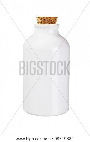 Metal Container with Cork Stopper on White Background