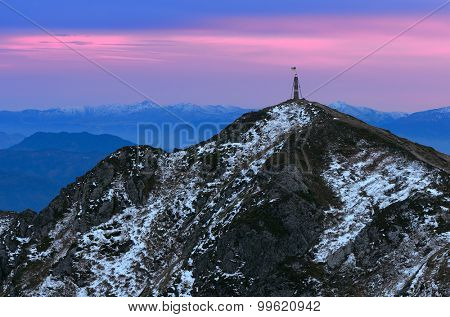 Mountain landscape with a vertex. Sunset with colorful sky. Carpathians, Ukraine, Europe