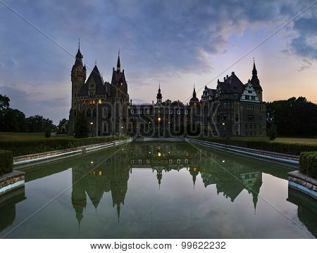 Fabulous Castle In Moszna In The Night, Near Opole, Poland