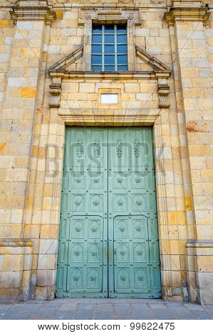 Main gate to the beautiful historic Cathedral of Diocesana at Zipaquira, located in middle Colombia,