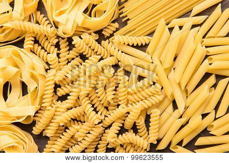 Mixed Dried Italian Pasta Collection. Dry Pasta Background