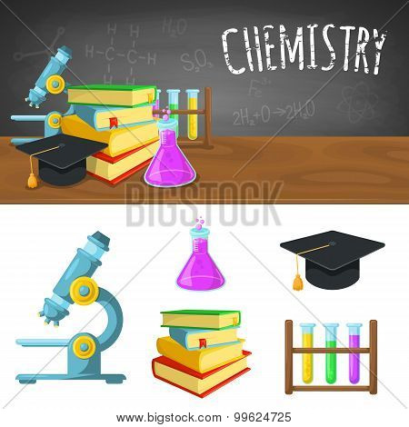 Chemistry backdrop and icons.