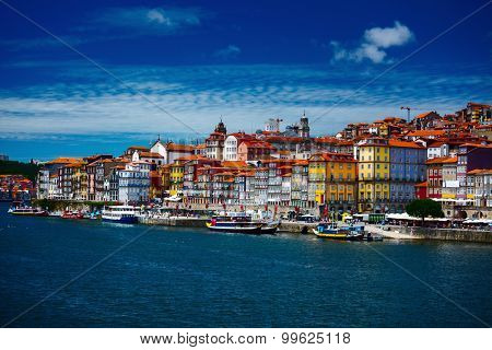 City of Porto at sunny day with clouds in the sky. Portugal