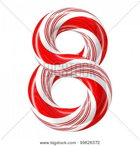 Mint hard candy cane 3d number collection striped in Christmas colours. Figure 8.