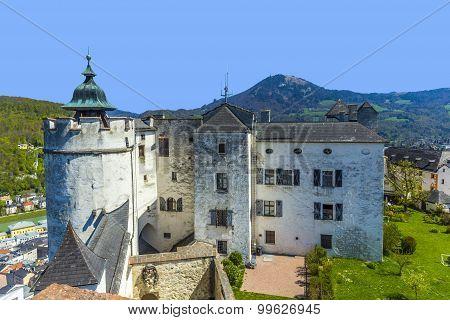 SALZBURG, AUSTRIA - APR 4, 2014: view to the old castle Hohensalzburg in Salzburg Austria