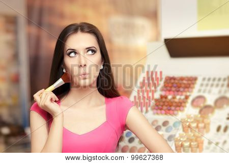 Surprised Woman Holding a Make-up Brush