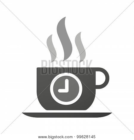 Cup Of Coffee Icon  With A Clock