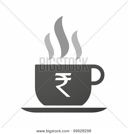 Cup Of Coffee Icon  With A Rupee Sign