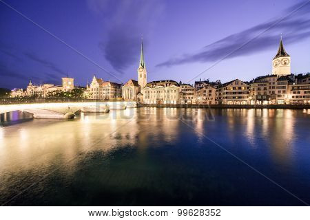 Limmat riverside in Zurich at dusk
