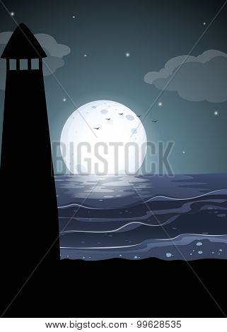 Silhouette lighthouse by the ocean illustration