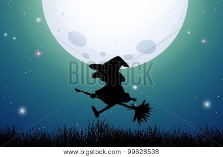 Silhouette witch on broom illustration