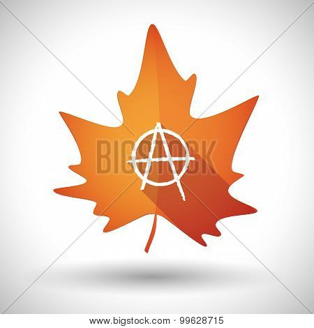 Autumn Leaf Icon With An Anarchy Sign