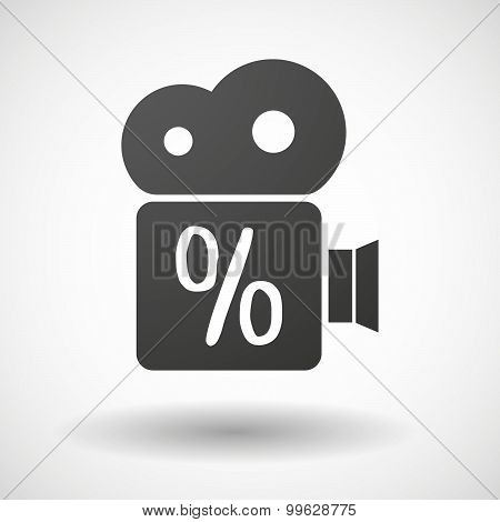 Cinema Camera Icon With A Discount Sign