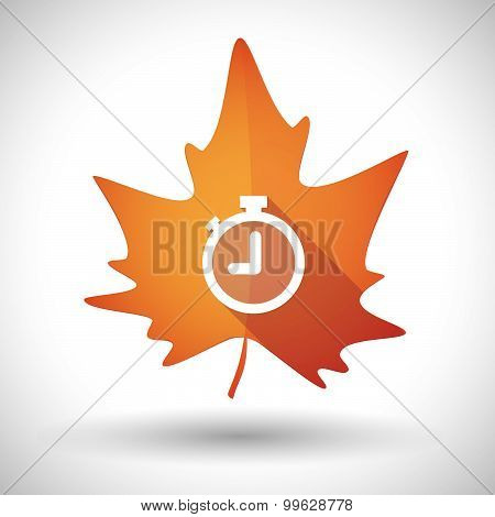 Autumn Leaf Icon With A Timer