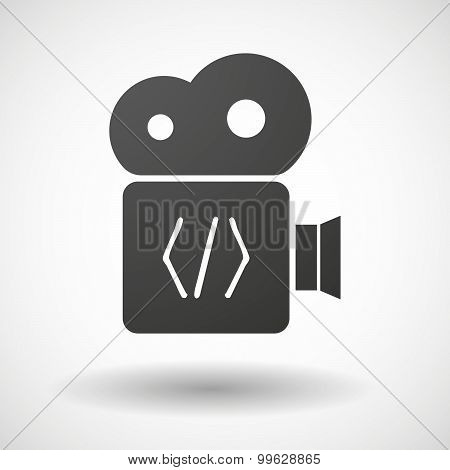Cinema Camera Icon With A Code Sign