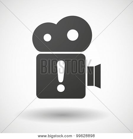 Cinema Camera Icon With An Exclamarion Sign