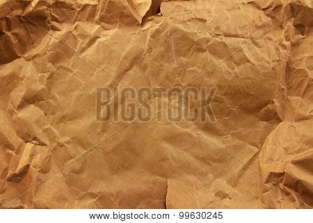 Closeup of brown wrinkled paper texture