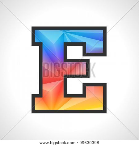 Vector Geometric Gradient Design Triangular Polygonal Font. Children letter E