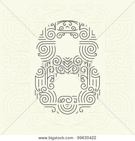 Vector Mono Line style Geometric Font for Your Text. Golden Monogram Design element for Labels and Badges. Number 8