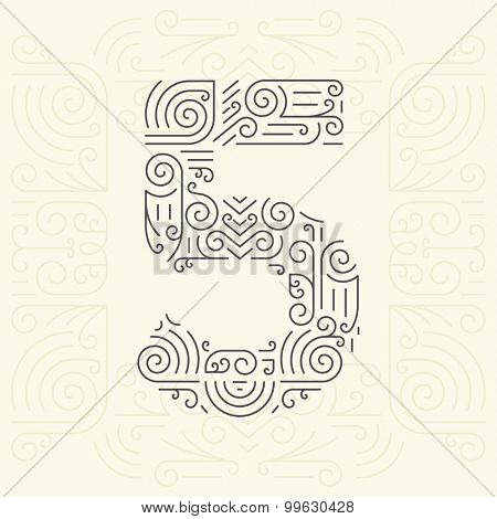 Vector Mono Line style Geometric Font for Your Text. Golden Monogram Design element for Labels and Badges. Number 5