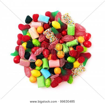 Sweet colorful candy, isolated on white background. Close-up