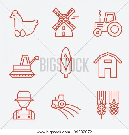 Farm icons, flat design, thin line style