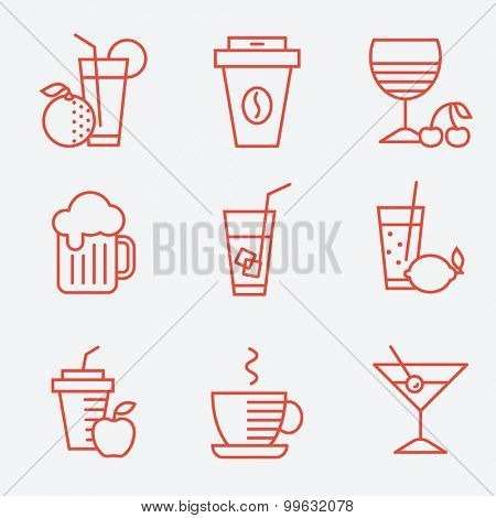 Set of drinks icons, flat design, thin line style