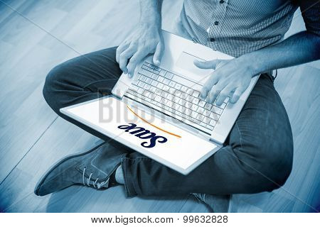 The word save against young creative businessman working on laptop