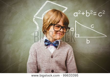 Trigonometry against boy smiling in front of blackboard