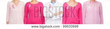 healthcare, people and medicine concept - close up of women in blank shirts with pink breast cancer awareness ribbons over white background