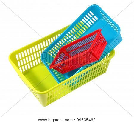 Plastic Products Household Use, Three Colored Boxes Of Different Sizes.