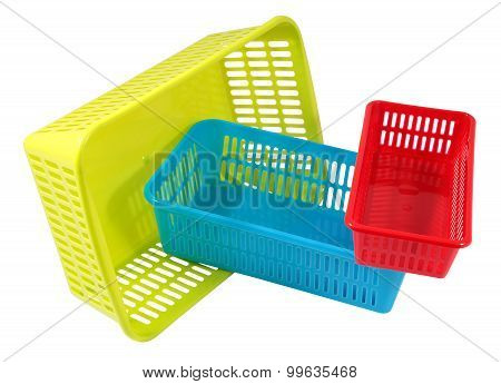 Three  Mini Household Colored Storage Plastic Basket