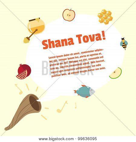 Shana Tova Rosh Hashanah, Jewish New Year Vector Greeting Card